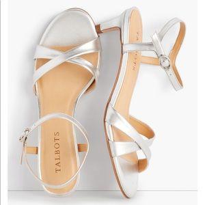 Talbots silver leather cross strap sandal size 9